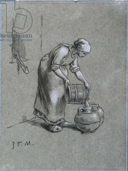 Woman at a Well (black chalk heightened with white on blue paper)