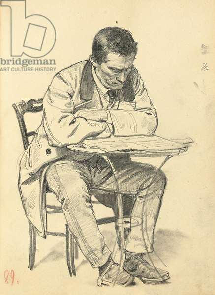 Study for 'A Parisian Cafe': Man Seated at a Cafe Table, Reading a Newspaper, c. 1872-1875 (pencil on paper)