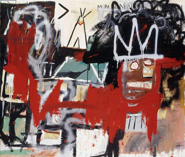 Untitled, 1981 (acrylic, spray paint, oilstick and paper collage on canvas)