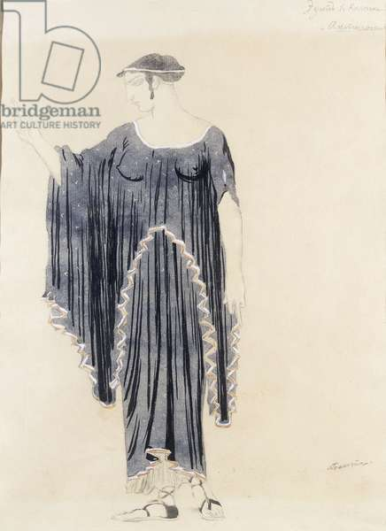 Costume design for Oedipus at Colonnus- Antigone, c. 1899 to 1909 (pencil, pen  and black ink, w/c on paper)