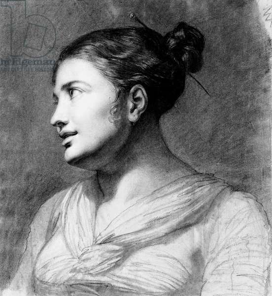 Portrait of a girl, bust-length, turned three-quarters to the left (black & white chalk on light brown paper)