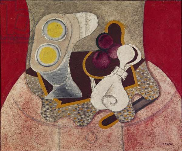 The Pink Tablecloth, 1931 (oil & sand on canvas)