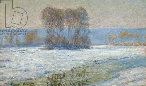 The Seine at Bennecourt, Winter (oil on canvas)