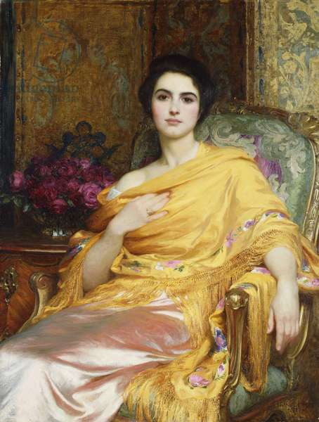 Portrait of Elsa, Daughter of William Hall, three-quarter length, seated wearing a Pink Dress and Yellow Wrap, 1927 (oil on canvas)