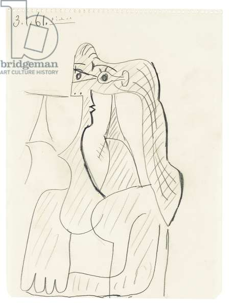 Bust of a seated woman, 1961 (pencil on paper)