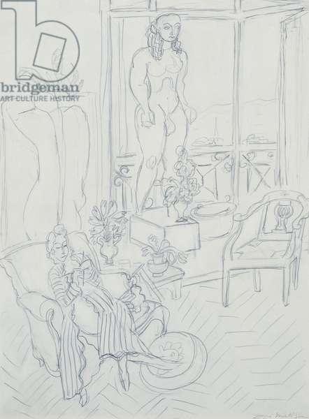 Woman in an Interior; Hotel Regina, Cimiez, Nice; Femme dans un Interieur; Hotel Regina, Cimiez, Nice, 1940 (pencil on paper)