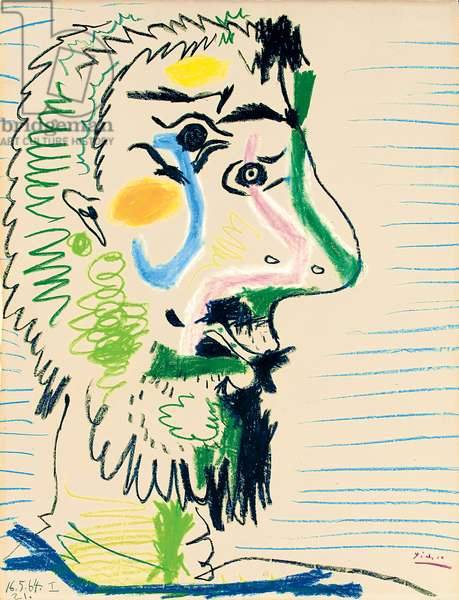 Head of a Man with Beard, 1964 (coloured wax crayon on paper)