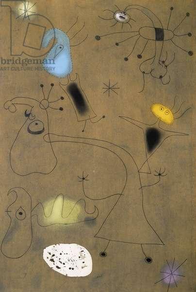 Woman, Birds, Star; Femme, Oiseaux, Etoile, c.1942 (pastel, gouache and ink on sandpaper)
