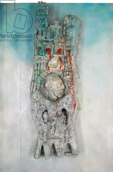 Cathedrale, Tour de Babel, 1962 (oil, silver spray paint, found objects and mixed media on canvas)