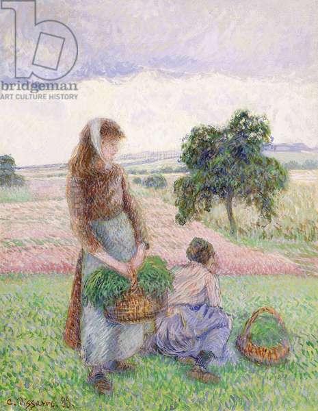 Peasants Carrying Baskets; Paysanne Portant au Panier, 1888 (gouache on linen)