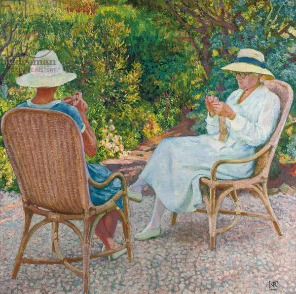 Maria and Elisabeth van Rysselberghe Knitting in the Garden, c.1912 (oil on canvas)