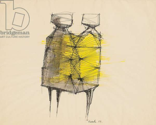 Study for 'Two Watchers', 1959 (pen and black ink, wash and gouache)