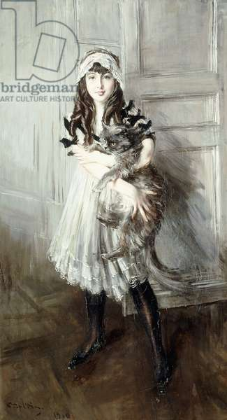 Portrait of Josefina Errazuriz Holding a Cat, 1910 (oil on canvas)