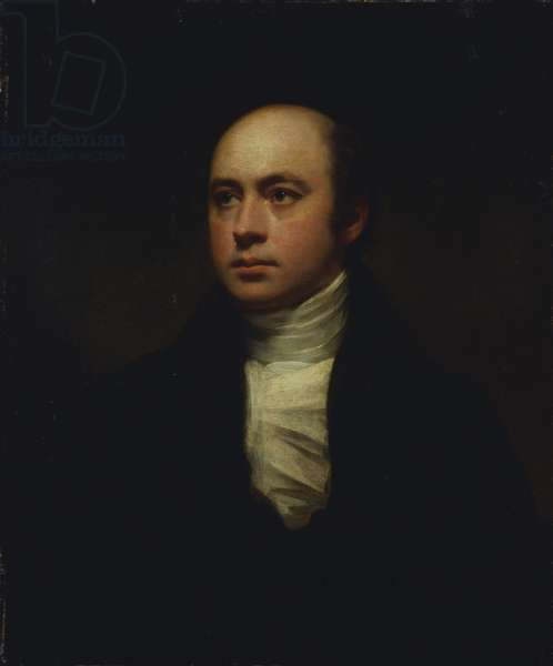 Portrait of Sir Francis Chantrey, in a dark jacket and white cravat (oil on canvas)