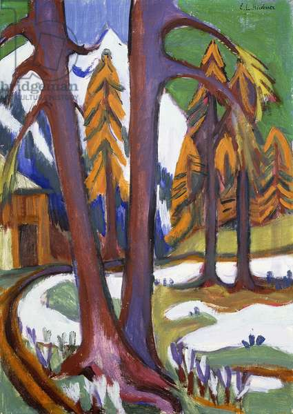 Mountain-Early Spring with Larchen; Berg-Vorfruhling mit Larchen, c.1921-1923 (oil on canvas)