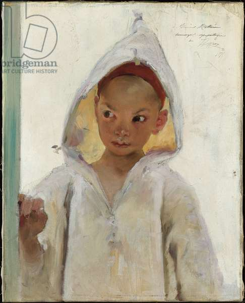 Portrait of a Young Boy wearing a Burnous (oil on canvas)