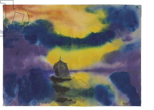Evening Sky and Sea with a Sailboat, c.1930 (watercolour on Japan paper)