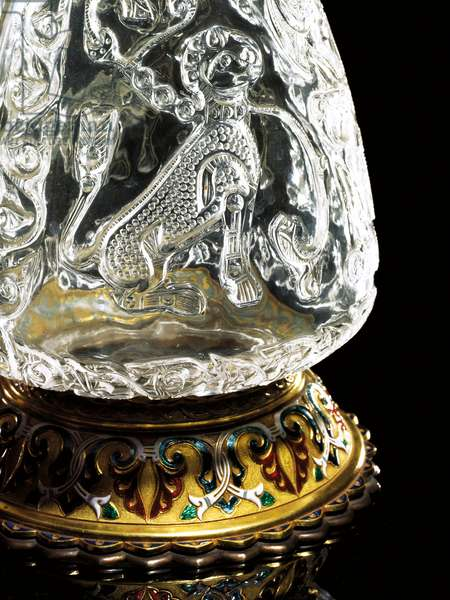 Fatimid ewer, Egypt, 975-1025, mounted by Jean-Valentin Morel, Sevres, 1854 (rock crystal, gold & enamel) (see also 1208328)