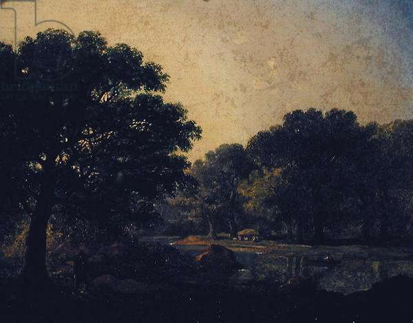 Wooded river landscape with a figure in a boat