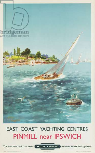 East Coast Yachting Centres: Pinmill near Ipswich, poster advertising British Railways, 1960 (colour litho)
