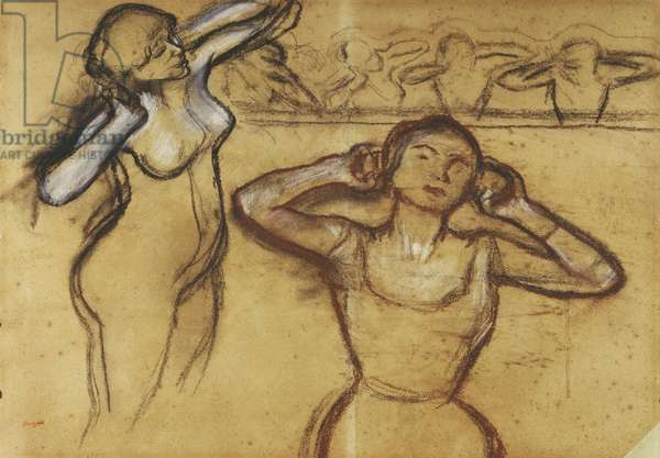 Study of a Dancer; Etude de Danseuse,  (pastel, wax crayon and charcoal on paper)