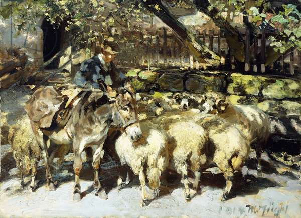 A Shepherd with his Flock, 1914 (oil on canvas)