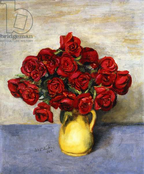 Red Roses in a Yellow Pitcher, 1934 (oil on canvas)