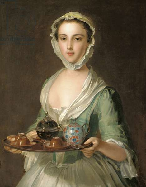 Portrait of a young woman, possibly Hannah, the artist's maid, holding a tea tray (oil on canvas)
