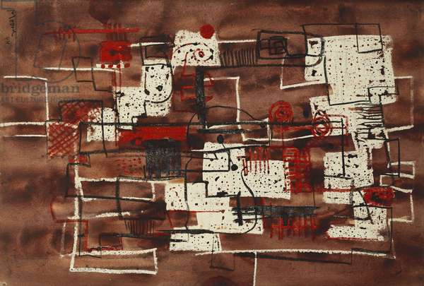 Square Forms, 1944 (watercolour, wax crayons and pencil on paper)