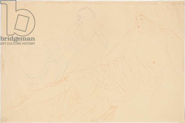 Reclining Nudes; Aufgestutzt Liegende, links Wiederholung, 1913 (blue and red pencil on simili Japan paper)
