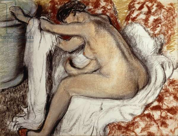 After the Bath, Woman Drying; Apres le Bain, Femme S'Essuyant, c.1884 (pastel on paper laid on board)