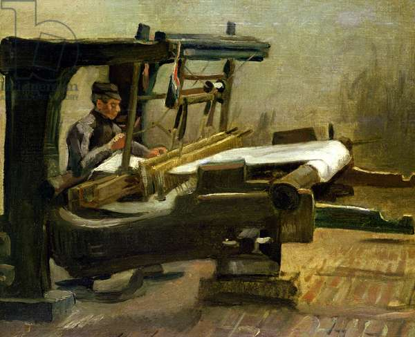 Weaver at the Loom, Facing Right, 1884 (oil on canvas)