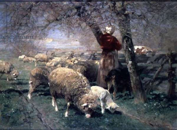 A Shepherdess and Sheep in a Landscape;