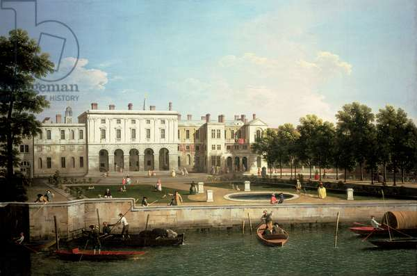 Old Somerset House from the River Thames, London (oil on canvas)