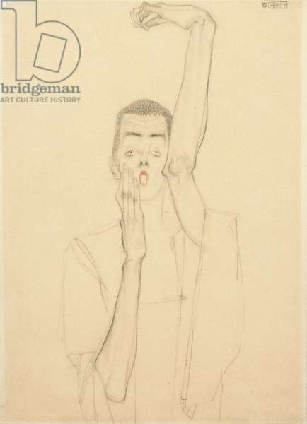 Self portrait with a raised arm and red mouth, 1909 (charcoal, red crayon & pencil on paper)