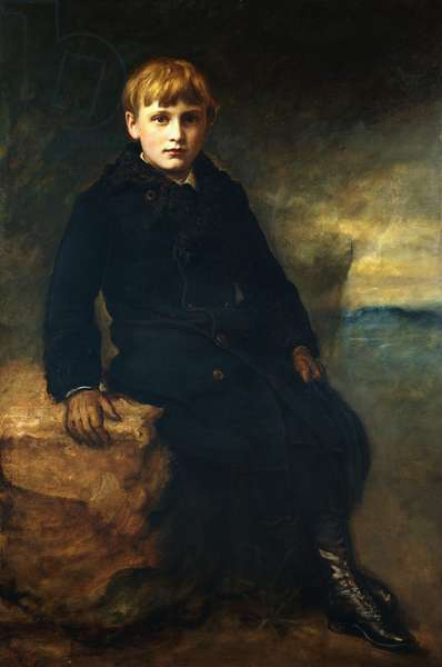 Portrait of Cecil Webb, seated full length, wearing a Black Coat with a Fur Collar, 1887 (oil on canvas)