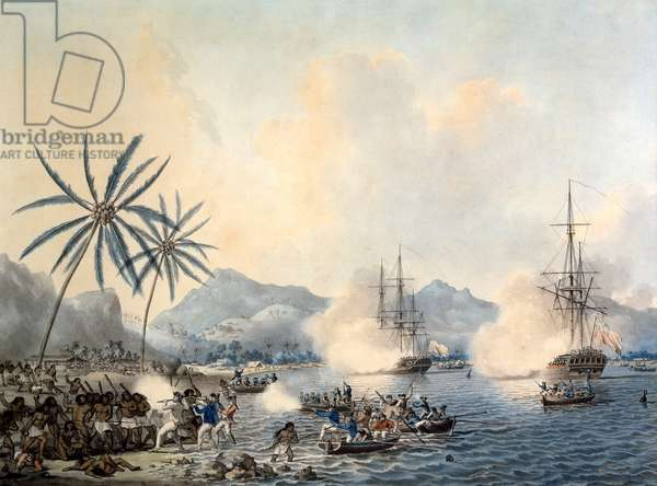 Death of Captain Cook (1728-79) and HMS 'Resolution' and 'Discovery' covering the retreat of the landing party on 14th February 1779 (w/c on paper)