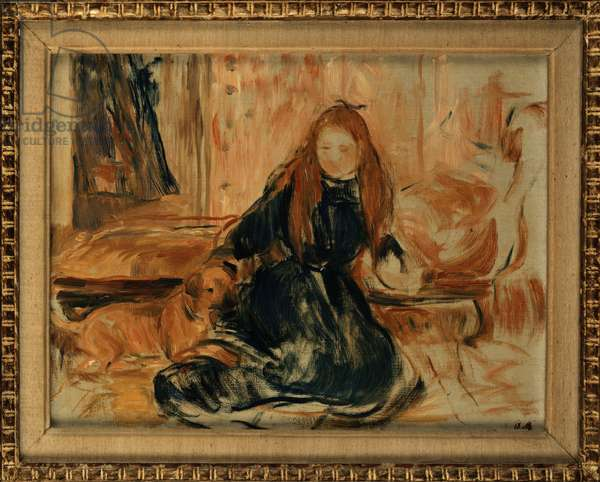 Young Girl Playing with a Dog (oil on canvas)