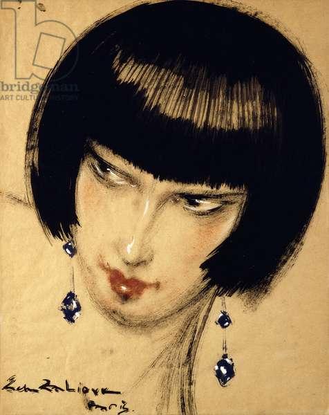 Woman with Earrings; La Femme aux Boucles d'Oreilles,  (gouache on paper)