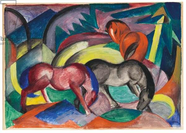 Three Horses, 1912 (gouache on card)