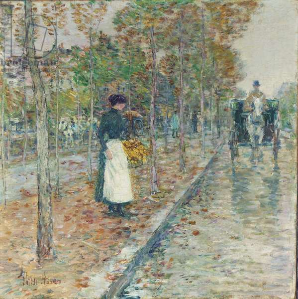 Autumn Boulevard, Paris (oil on canvas)