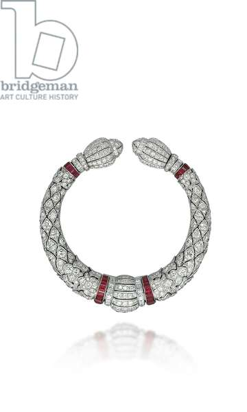 Art Deco bangle, 1920s (diamonds, rubies & platinum)