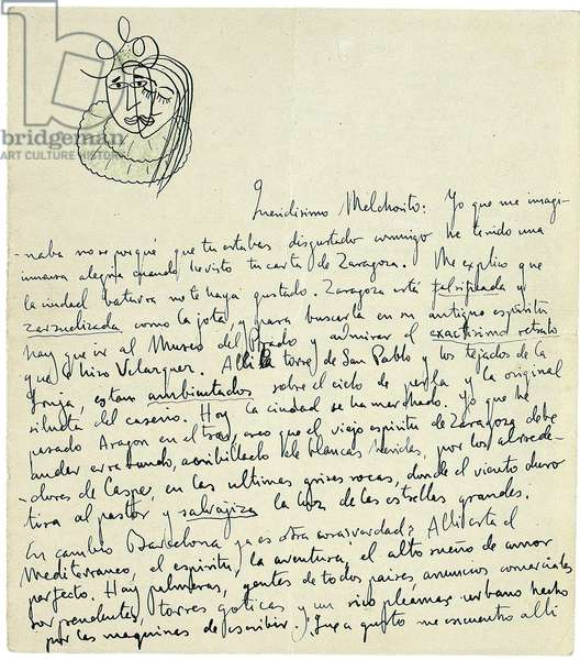 Autograph letter to Melchor Fernandez Alamgro, Granada, late January 1926 (pen & ink and crayon on paper) (see also 957196)