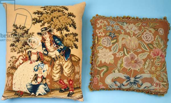 Two cushions with needlework panels worked in coloured silks & wools (silk, wool)