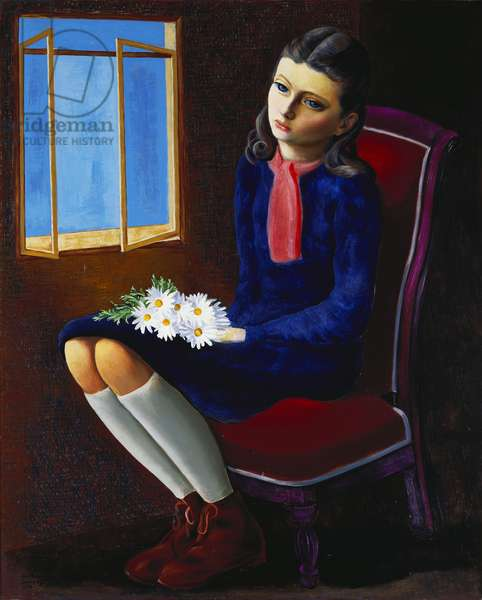 A Young Girl seated with Marguerites, 1950 (oil on canvas)