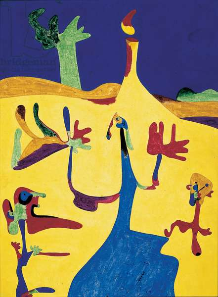 Figures in Front of a Volcano, 1935 (tempera on masonite)