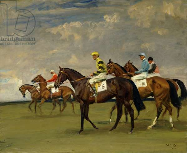 The Start at Newmarket, (oil on canvas)