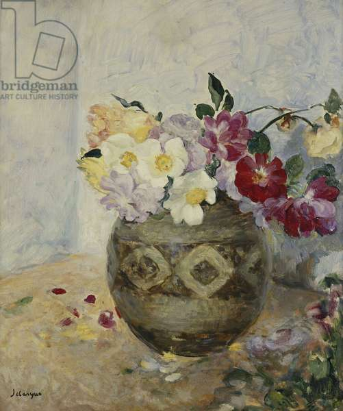 Vase of Flowers; Vase de Fleurs, (oil on canvas)