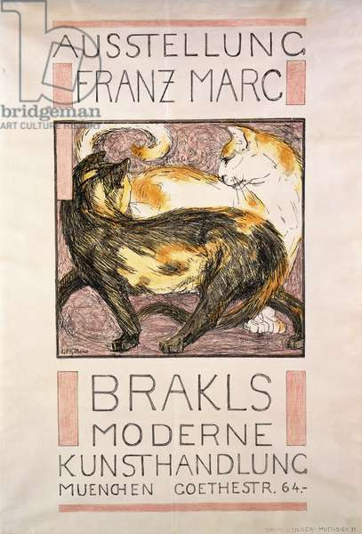 Two Cats, 1909-10 (lithograph in colours)