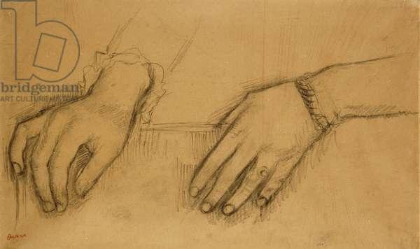 Study of Hands for a Portrait of Helene Rouart; Etude de Mains, Pour le Portrait de Helene Rouart, c.1886 (charcoal on tracing paper laid on brown paper)